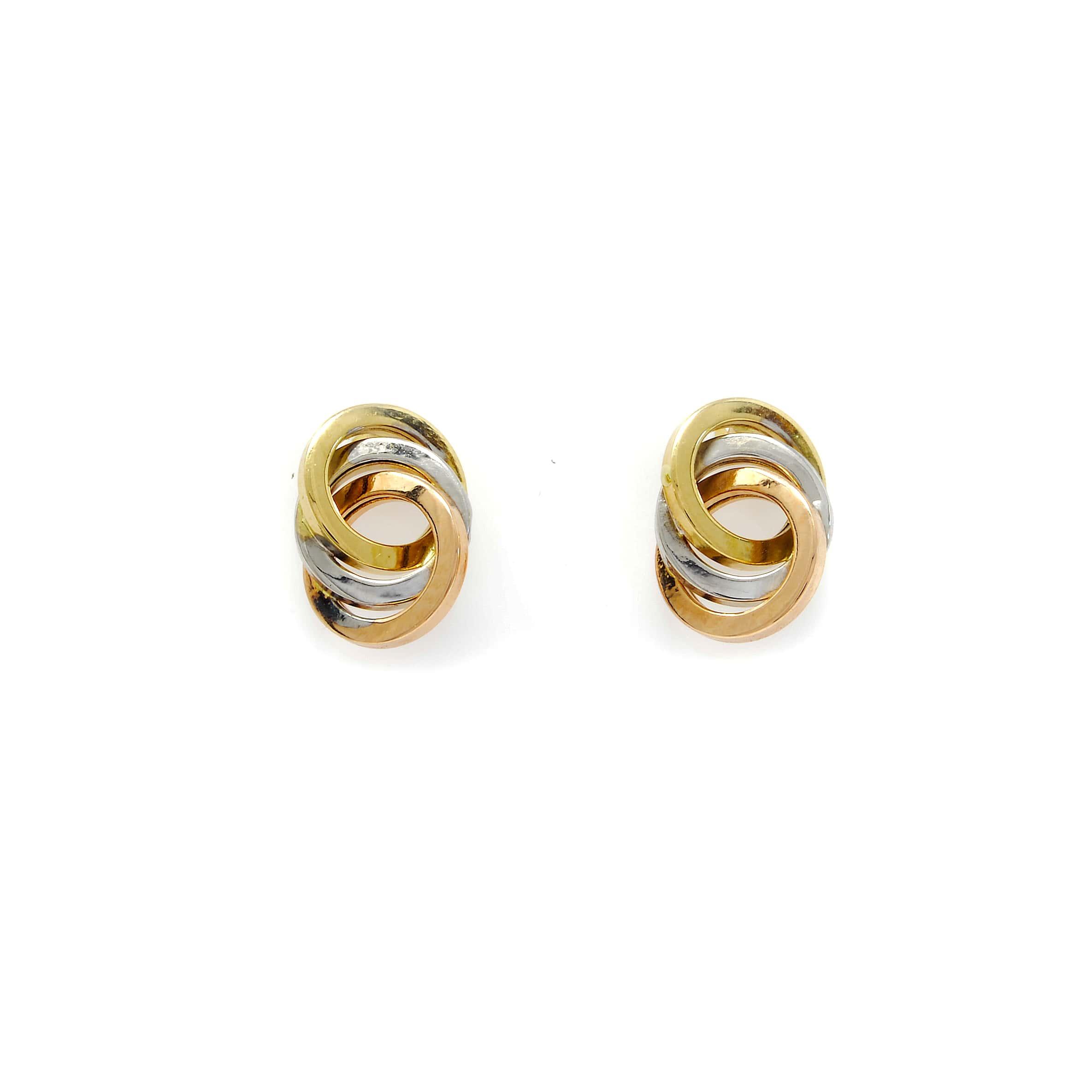 Boucles d oreilles or 18 carats 3 ronds 3 couleurs-5-min
