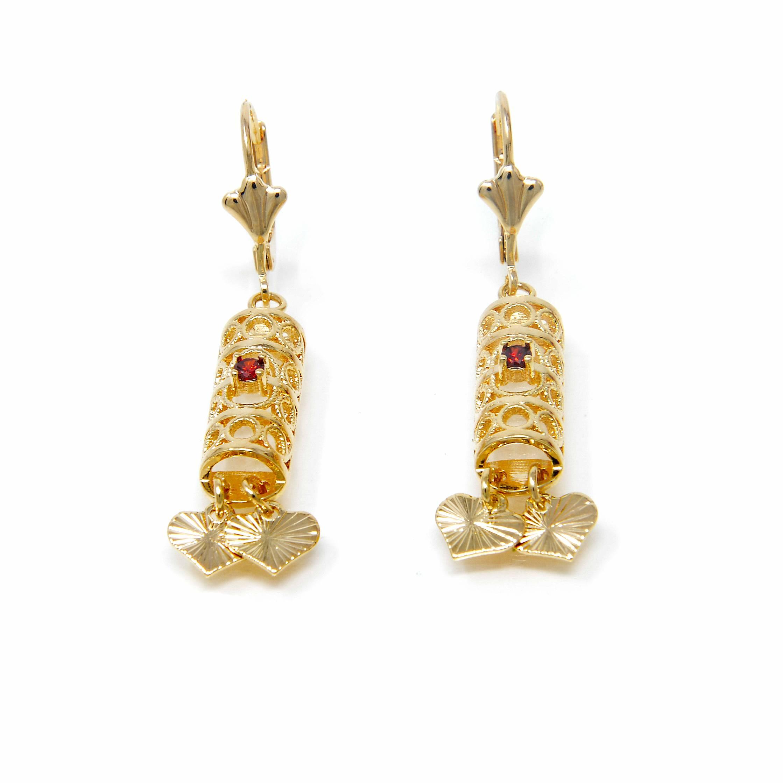 Boucles d oreilles pierre rouge plaqué or