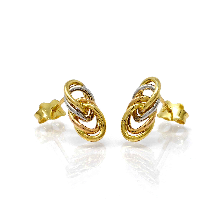 Boucles puce motifs ovales bicolore 18 carats-5-min