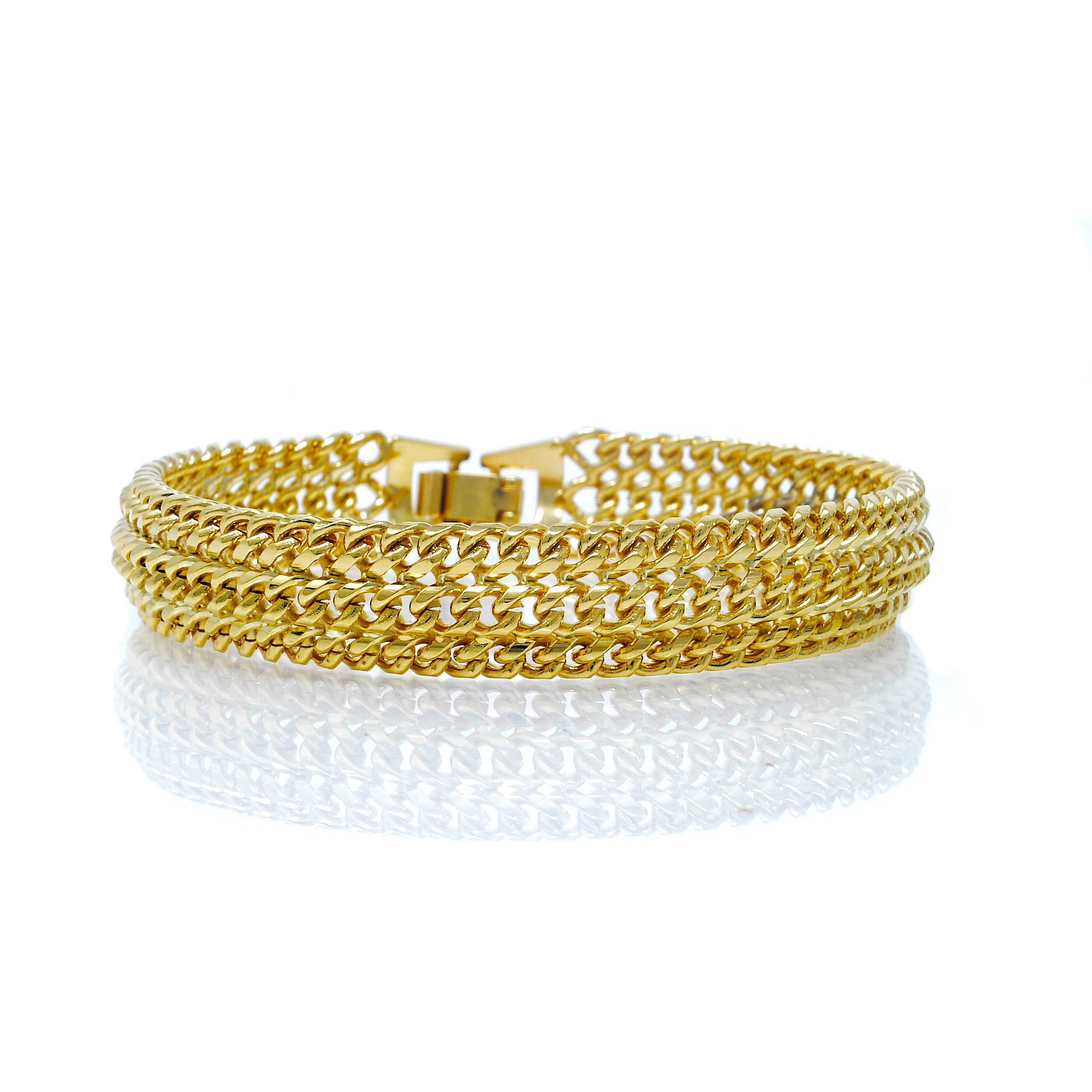 Bracelet 3 rangs plaqué or 21 CM