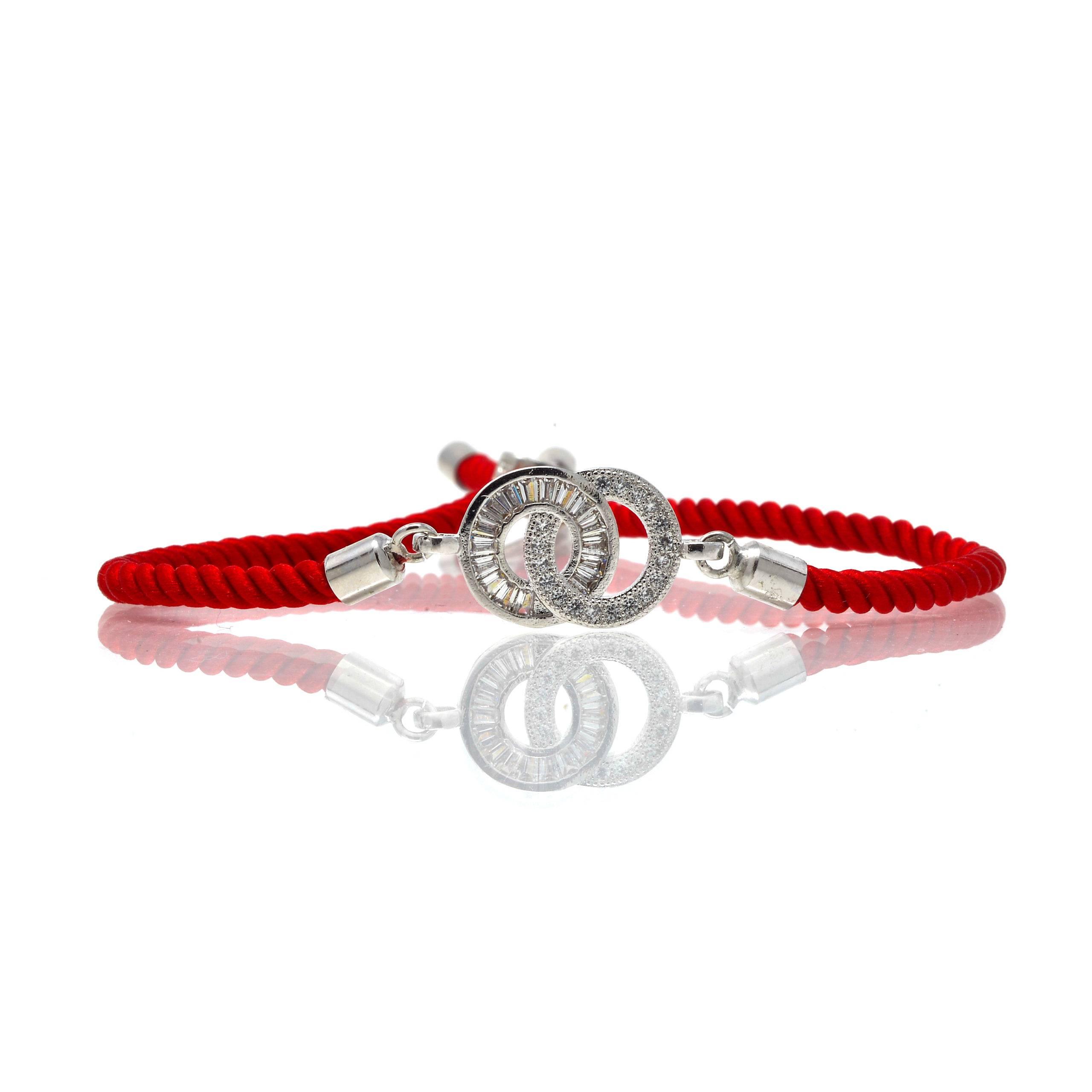 Bracelet acier cordon rouge 2 cercles zircon