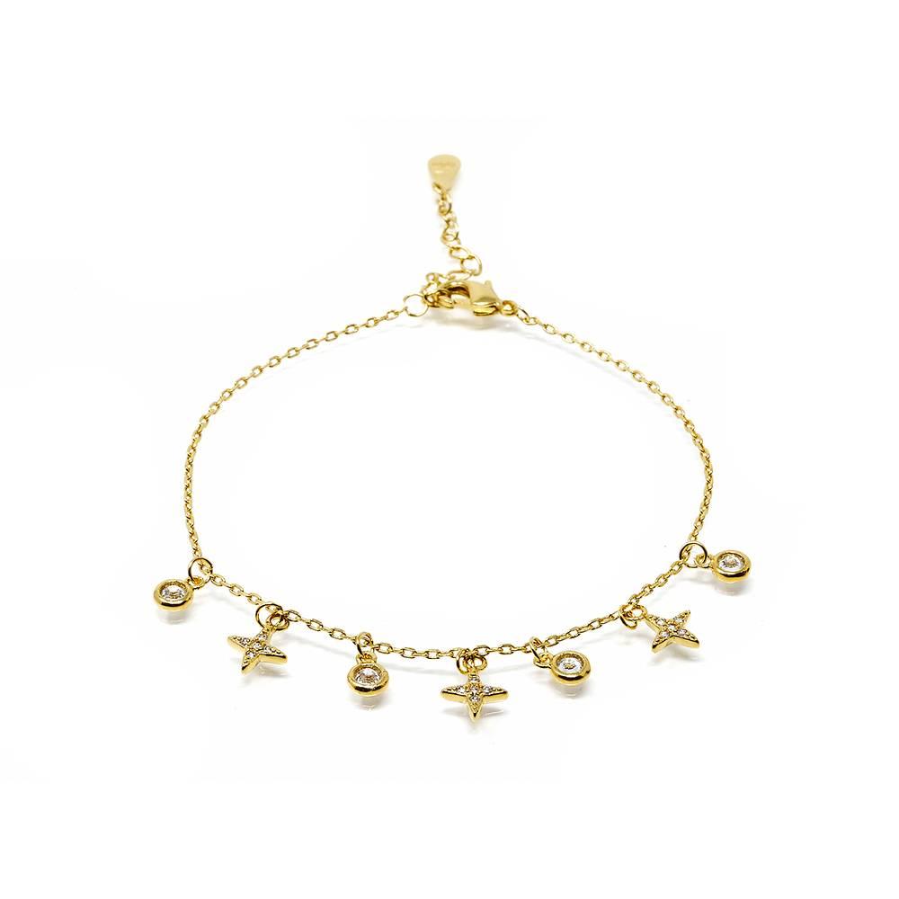 Bracelet grelots étoiles zircons