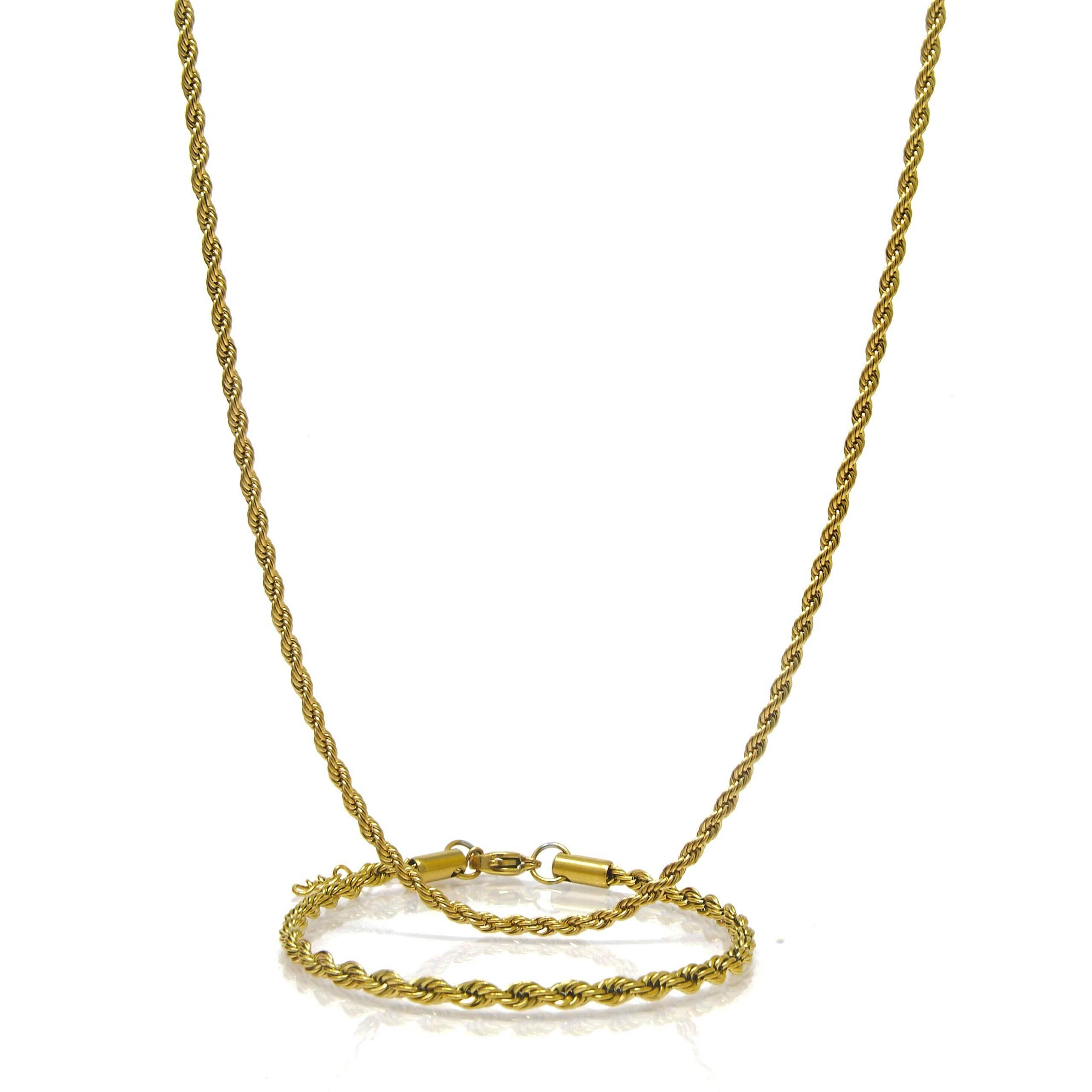 Collier et bracelet torsade acier doré 3MM 66 CM-2-min