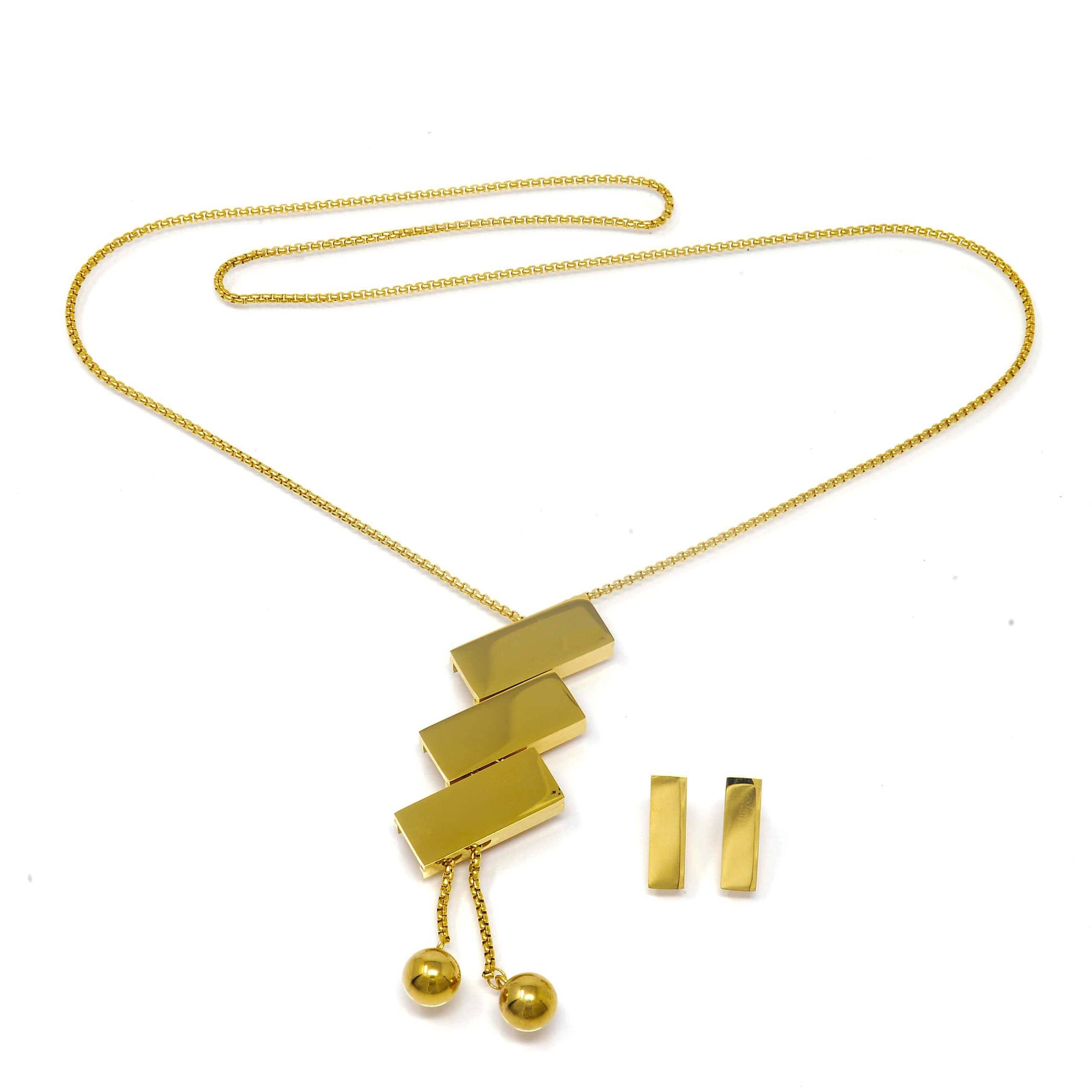 Collier motifs rectangle et bo acier dore 60CM-min