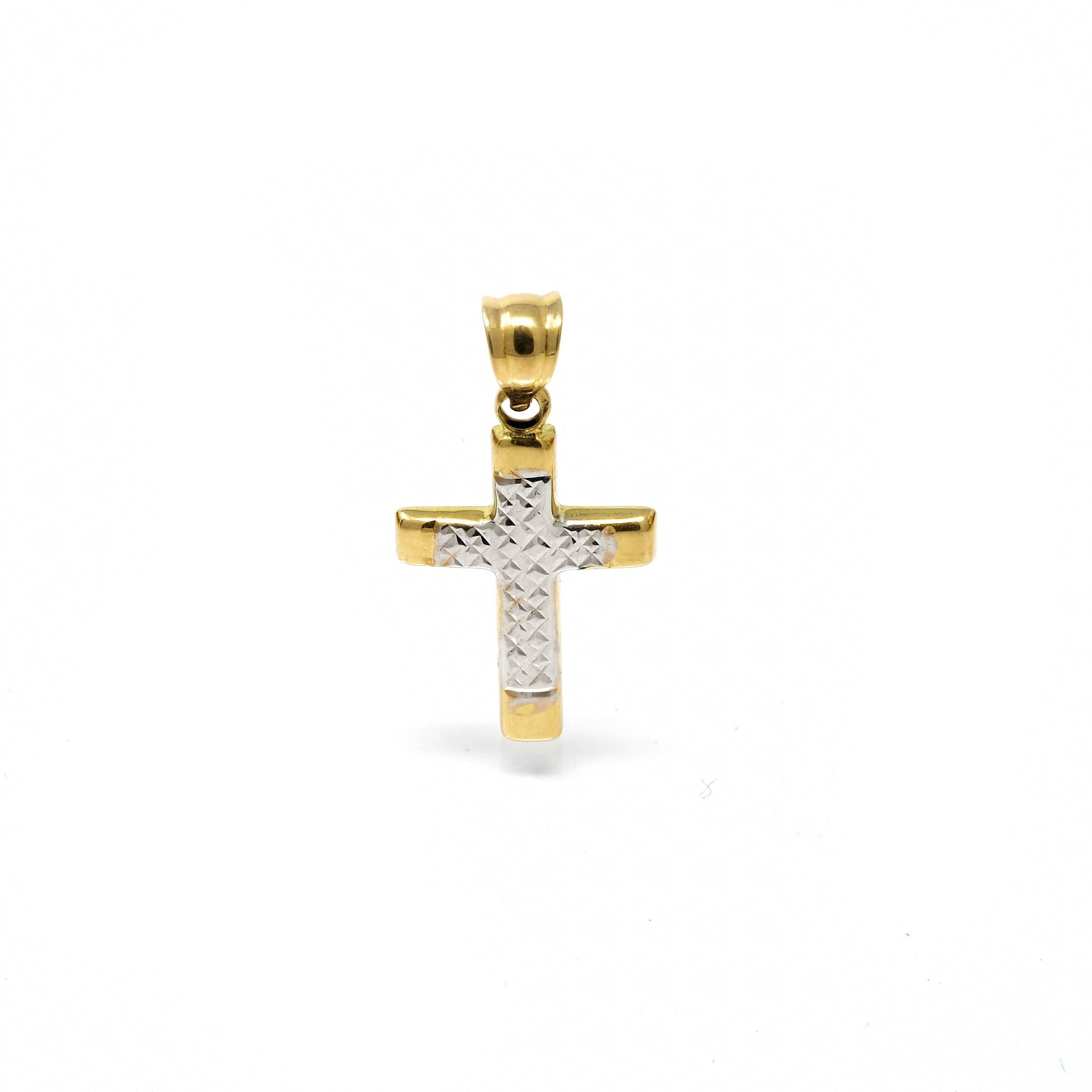 Croix cisele bicolore 18 carats-3-min