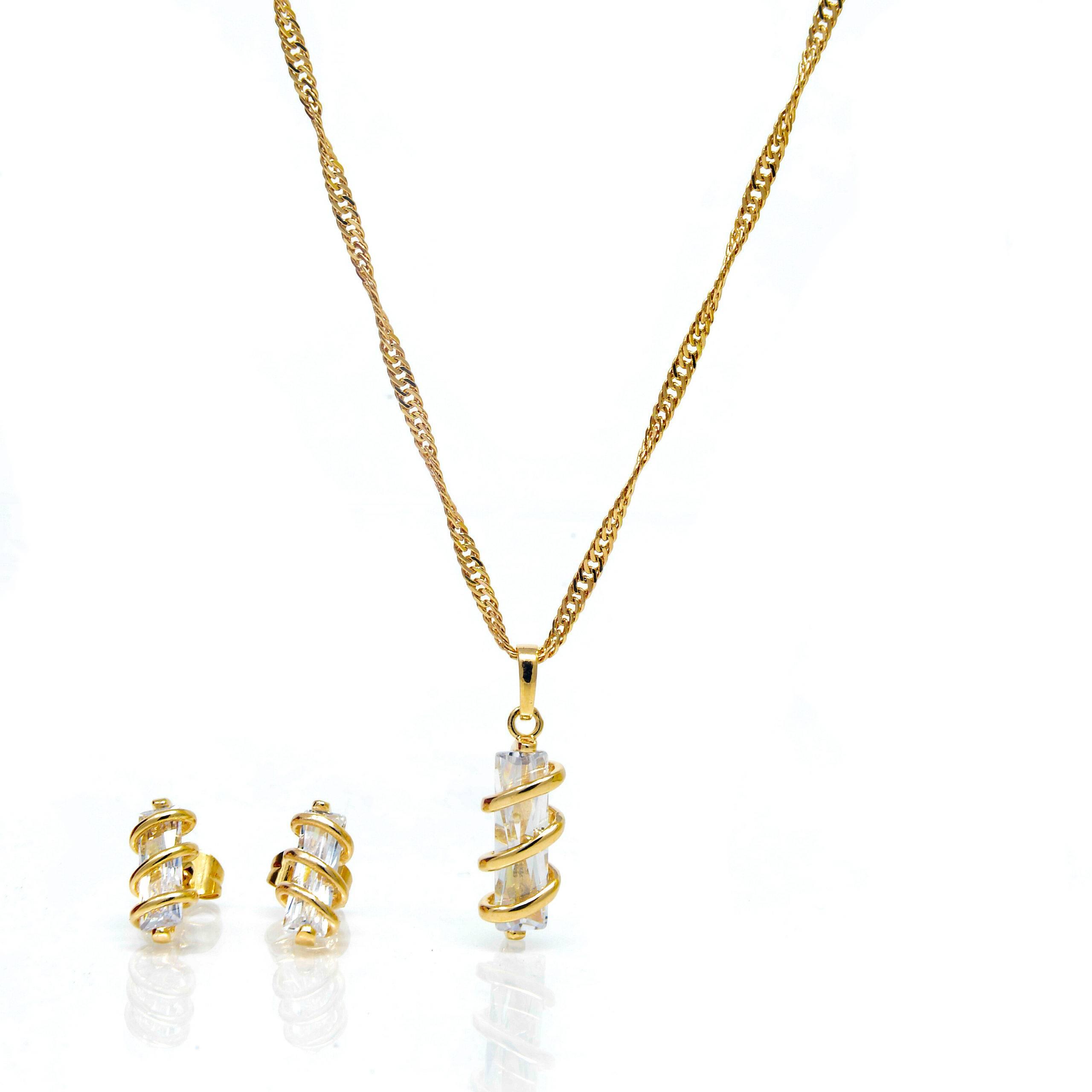Parrure pend collier pierre blanche 45cm plaqué or