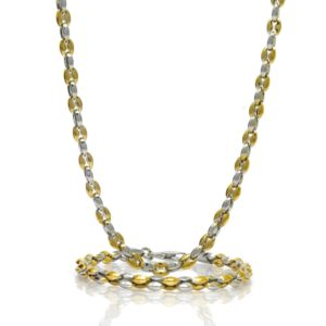 Parure collier et bracelet cafe 5MM acier bicolore 64 CM-3-min