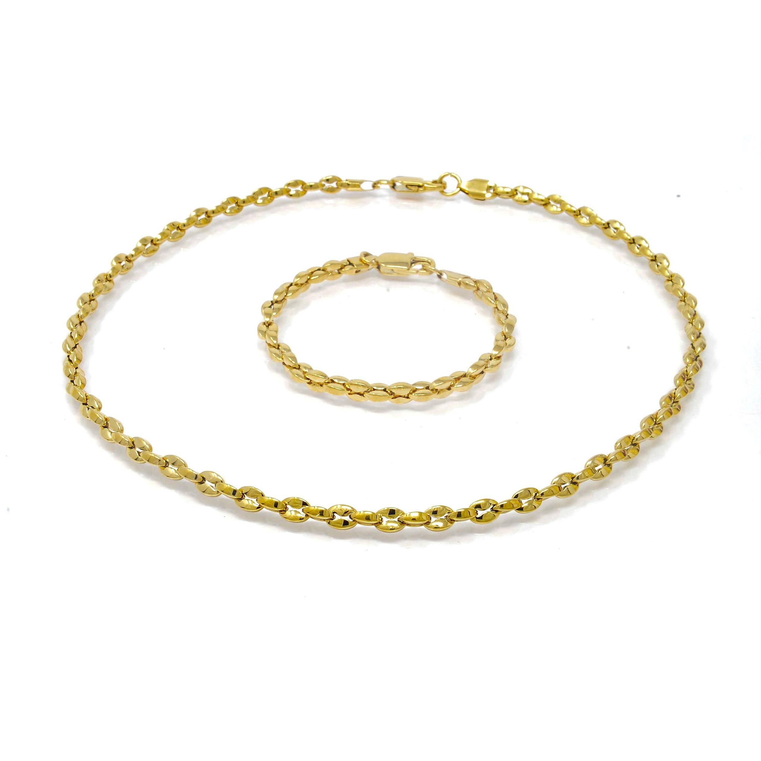 Parure collier et bracelet cafe 5MM acier doré 64 CM-6-min