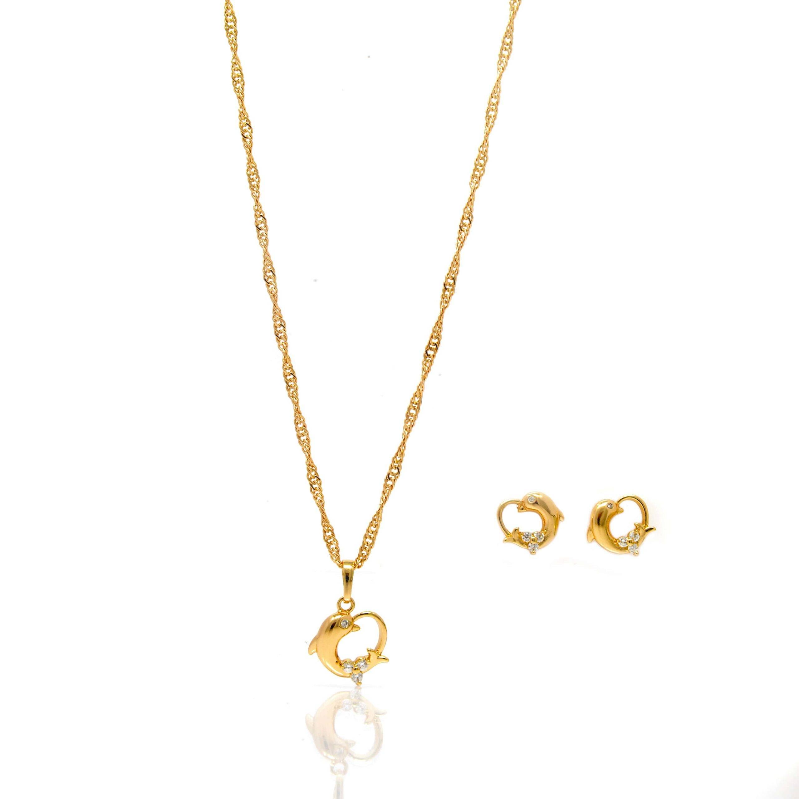 Parure plaqué or collier pendentif boucles d oreilles coeur-4-min