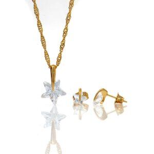 Parure plaqué or collier pendentif boucles d oreilles étoile oz-2-min