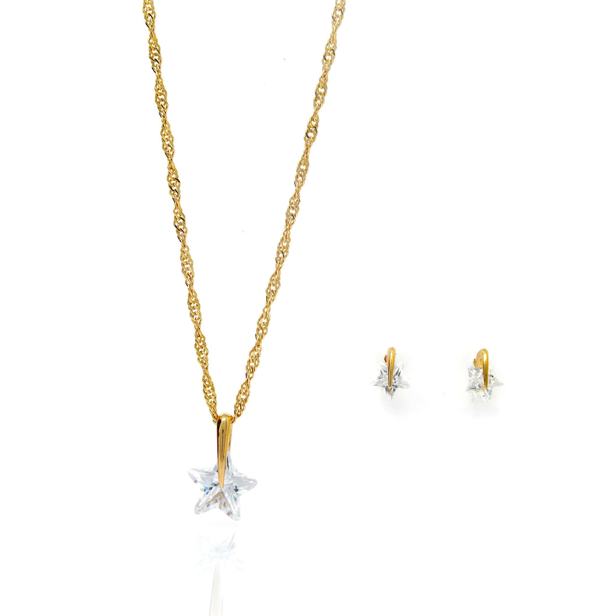 Parure plaqué or collier pendentif boucles d oreilles étoile oz-6-min