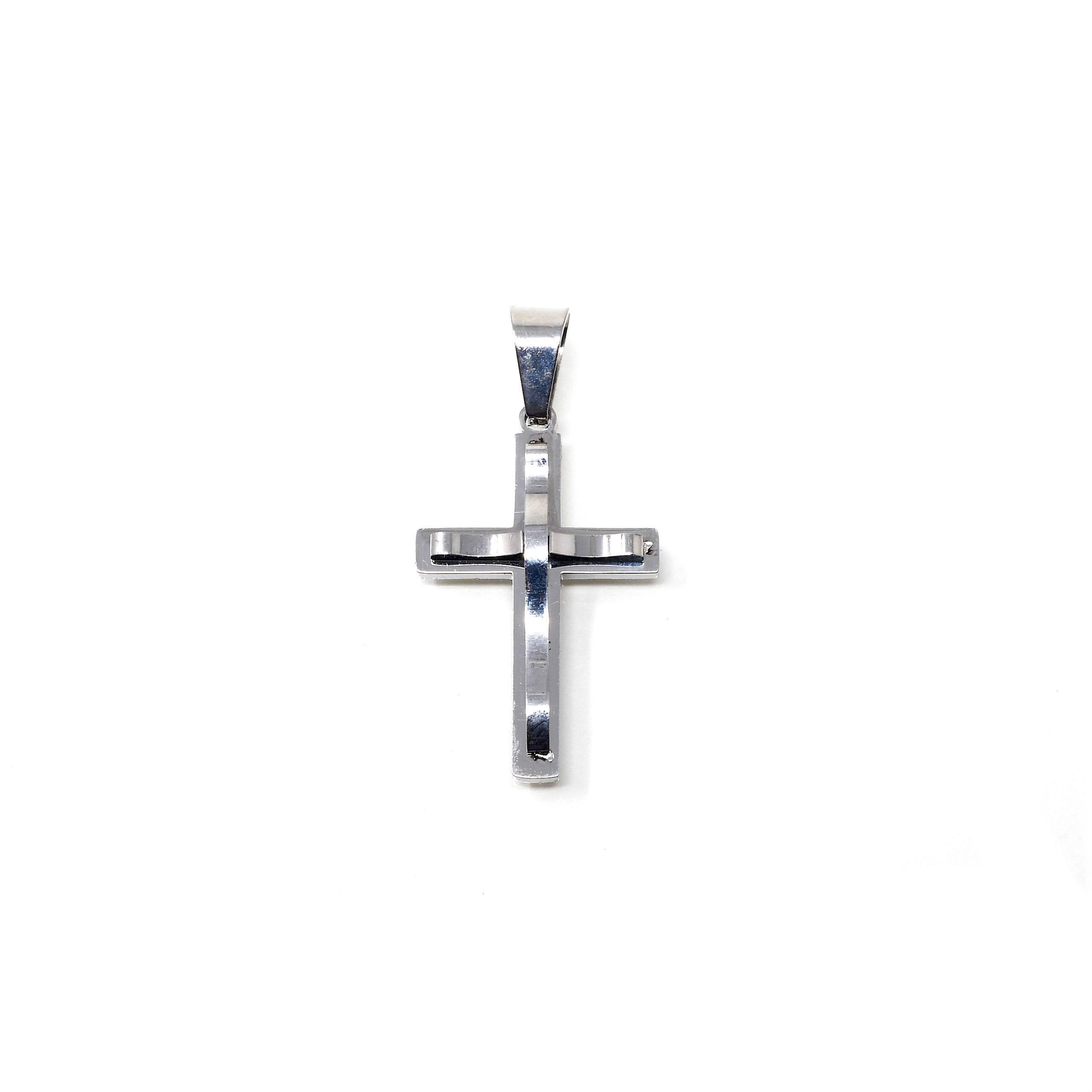 Pendentif croix acier 30X20MM